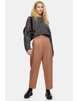Camel Utility Button Tab Trousers by Topshop