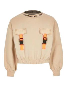 Girls Light Brown Buckle Sweatshirt by River Island