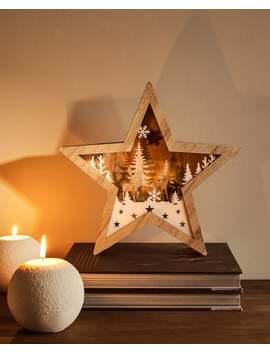 Estrella Madera Con Luz DecoraciÓn   Navidad by Zara Home
