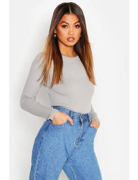 Ribbed Crew Neck Jumper by Boohoo