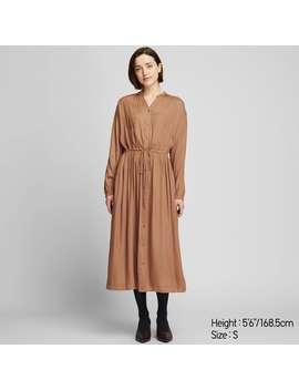 V Neck Long Sleeve Long Shirt Dress by Uniqlo
