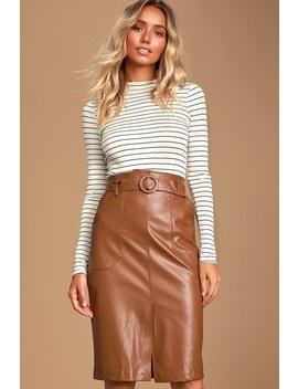 Rider Brown Vegan Leather Pencil Skirt by Raga