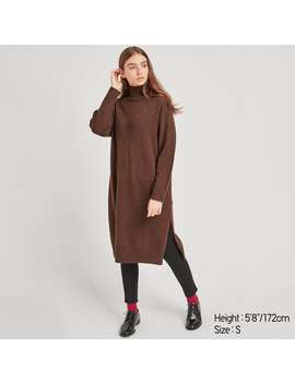 Wool Blended High Neck Slit Dress by Uniqlo