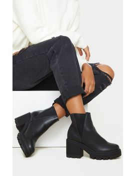 Black Wide Fit Cleated Chunky Chelsea Boot by Prettylittlething