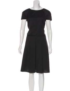 Virgin Wool Knee Length Dress by Jil Sander Navy