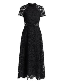 Lace Short Sleeve A Line Midi Dress by Ml Monique Lhuillier