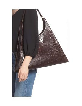 Large Rey Croc Embossed Leather Shoulder Bag by Staud