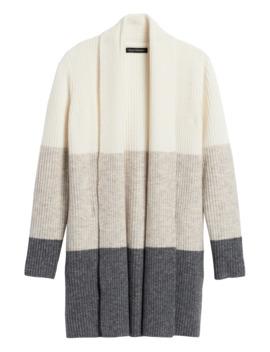 Petite Color Block Long Cardigan Sweater by Banana Repbulic