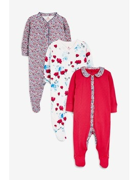 Red/Ecru Floral Poppy Sleepsuits Three Pack (0mths 2yrs) by Next
