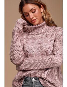 Adoring Heart Dusty Lavender Knit Turtleneck Sweater by Lulu's