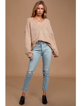 Happily Ever Effortless Taupe Knit Distressed Sweater by Lulu's