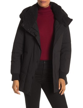 Long Sleeve Faux Shearling Hooded Puffer Coat by Andrew Marc