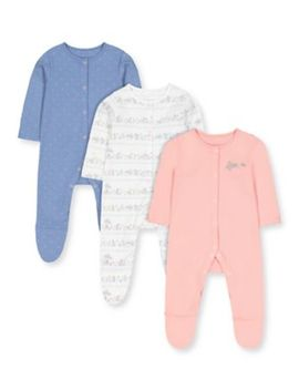 Lovely Bunny Sleepsuits   3 Pack by Mothercare