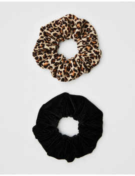 Aeo Leopard + Velvet Scrunchies 2 Pack by American Eagle Outfitters