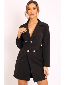 Black Silver Button Belted Blazer Dress   Hattie by Rebellious Fashion