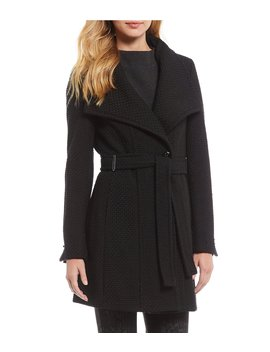 Asymmetrical Collar Basket Weave Faux Wool Coat by Calvin Klein