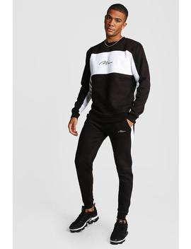 Man Signature Colour Block Sweater Tracksuit by Boohoo