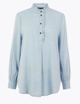 Cotton Rich Ruffled Longline Blouse by Marks & Spencer