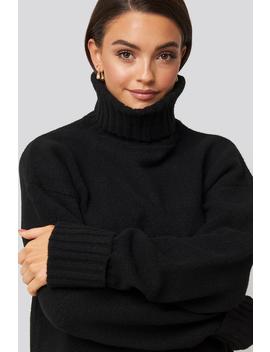 Folded Sleeve Oversize Sweater Czarny by Afjxnakd