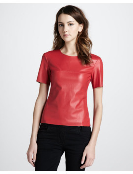 Bcbgmaxazria Faux Leather Top, Red by Bcbgmaxazria