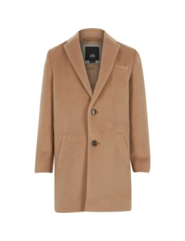 Boys Camel Brown Single Breasted Overcoat by River Island
