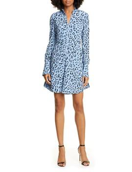Marcella Leopard Print Long Sleeve Silk Minidress by A.L.C.