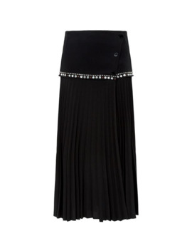 Embellished Pleated Wrap Skirt by Sandro
