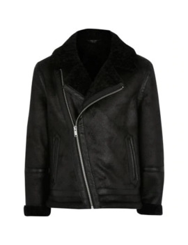 Boys Black Borg Lined Faux Suede Jacket by River Island