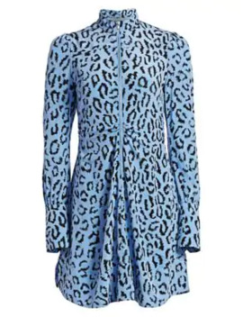 Marcella Leopard Print Silk Long Sleeve Dress by A.L.C.