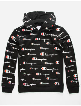 Champion Aop Open Script Black Boys Hoodie by Ashley