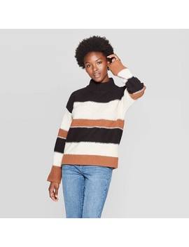 Women's Striped Long Sleeve Mock Neck Pullover   Universal Thread™ Brown by Universal Thread
