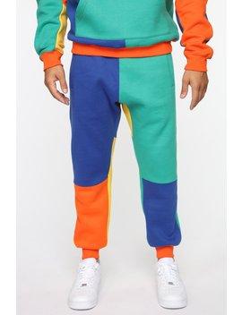 80's Color Block Jogger   Orange/Combo by Fashion Nova