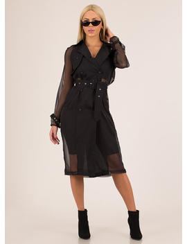 New Classic Sheer Belted Trench Coat by Go Jane