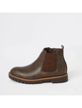 Boys Dark Brown Chelsea Boots by River Island