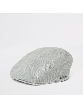 Boys Grey Check Flat Cap by River Island