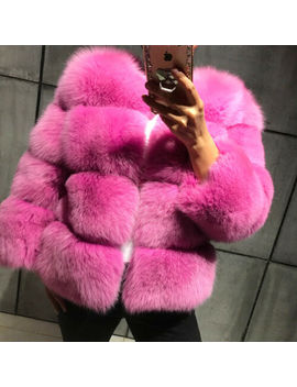 Women's Full Pelt 100% Real Natural Fox Fur Coat Jacket Thick Overcoat Outerwear by Bf