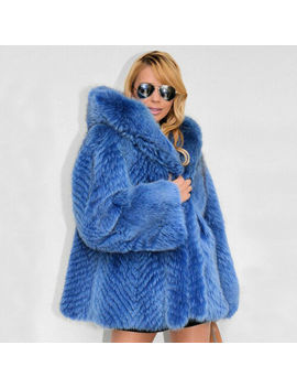 Women's Whole Skin Real Natural Fox Fur Coat Hoodie Jacket Hooded Thick Overcoat by Bf