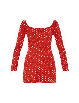 Terracotta Polka Dot Long Sleeve Square Neck Shift Dress by Prettylittlething