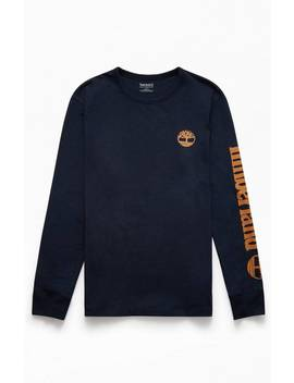 Timberland Logo Long Sleeve T Shirt by Pacsun