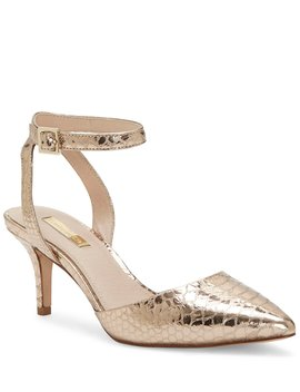 Esperance Metallic Snake Print Ankle Strap Pumps by Louise Et Cie