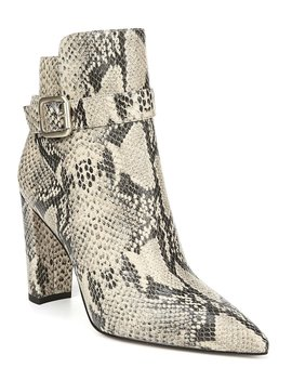 Rita Snake Print Leather Block Heel Booties by Sam Edelman