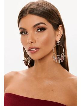 Gold Look Cross Drop Diamante Top Hoop Earrings by Missguided
