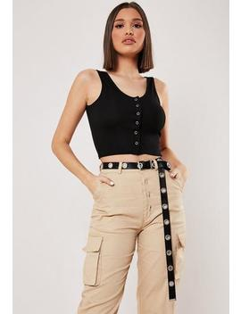Black Canvas Eyelet Belt by Missguided