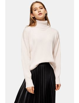 Knitted Cashmere Roll Neck Jumper by Topshop