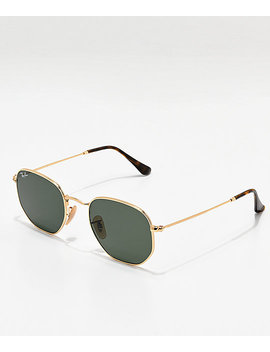 Ray Ban Hexagonal Gold &Amp; Green Sunglasses by Ray Ban