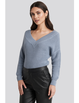 V Neck Wide Rib Knitted Sweater Blå by Na Kd