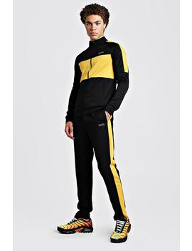 Man Mustard Colour Block Poly Tracksuit by Boohoo