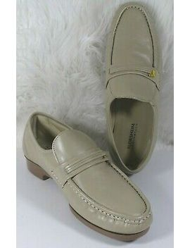Florsheim Riva Beige Leather Slip On Comfortech Moc Toe Loafers Shoes Mens 8 3 E by Florsheim