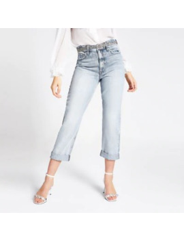 Mid Blue Belted Mom Jeans by River Island
