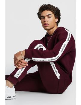 Hooded Tracksuit With Man Official Tape by Boohoo